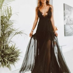 Midnight Romance Black Dress Maxi Dress